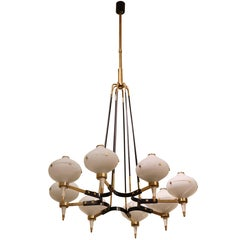 Stilnovo Modernist Eight-Light Chandelier