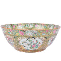 Large 19th Century Chinese Rose Medallion Cantonese Bowl