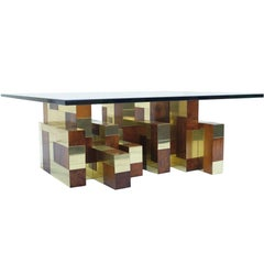 Paul Evans Cityscape Burl and Brass Coffee Cocktail Table Signed