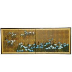 Japanese Four-Panel Byobu Screen of Irises on Gilt