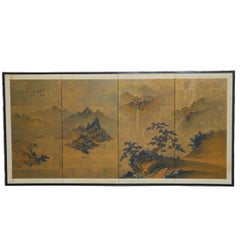 Japanese Four-Panel Painted Landscape Byobu Screen
