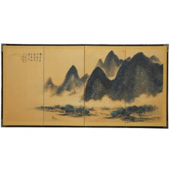 Japanese Four-Panel Blue Mountain Landscape Byobu Screen