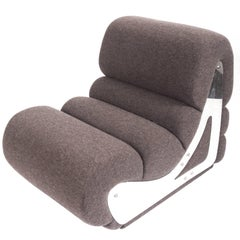Slipper Chair with Brushed Stainless Steel Sides, By Kappa