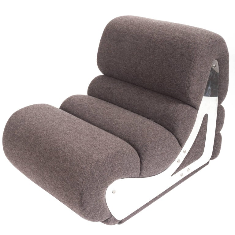 Slipper Chair with Brushed Stainless Steel Sides, By Kappa For Sale