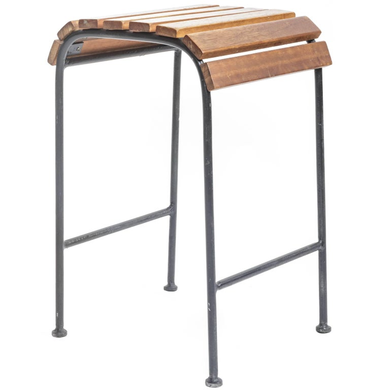 Slatted Wood and Metal Stool  For Sale