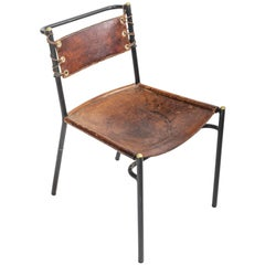 Leather and Metal Side Chair in the style of Adnet