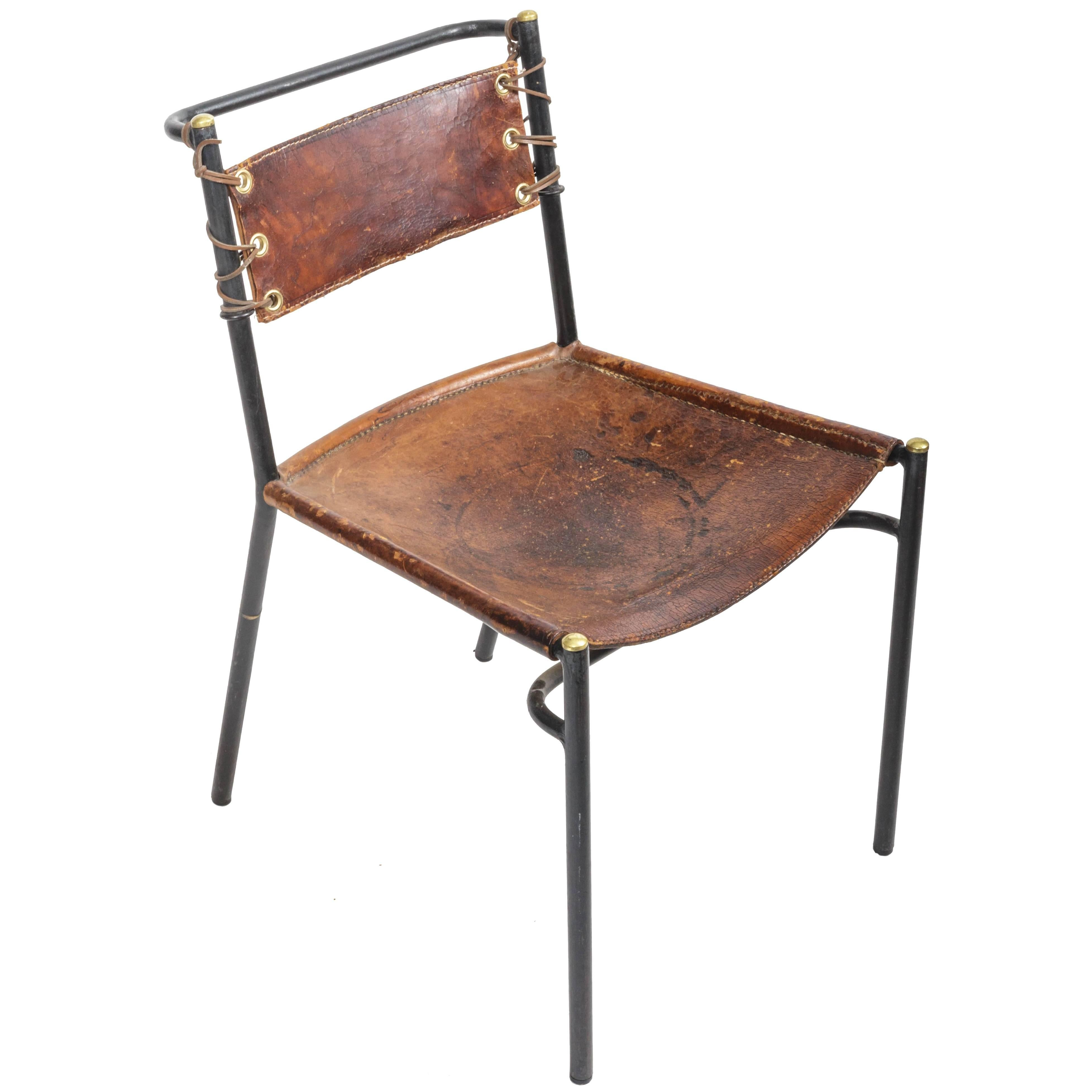 Leather And Metal Side Chair In The Style Of Adnet For Sale