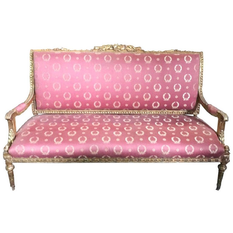 French Louis XVI Giltwood Settee Empire Silk Upholstery, 19th Century For Sale
