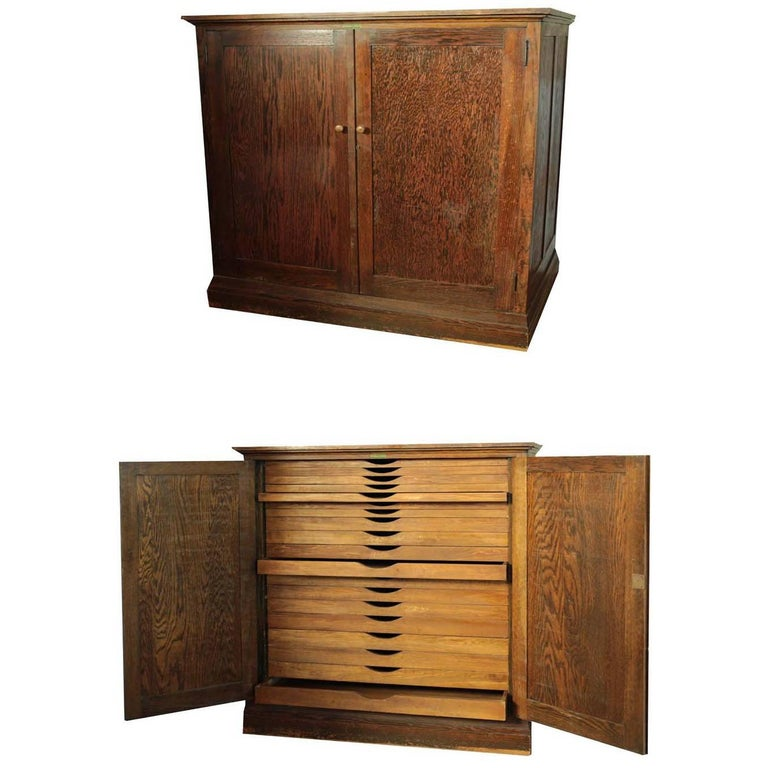 Antique Map Chest or Art Cabinet For Sale - Antique Map Chest Or Art Cabinet At 1stdibs