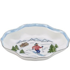 Modern Country German Style Hand-Painted Porcelain Dish with Skier Decor