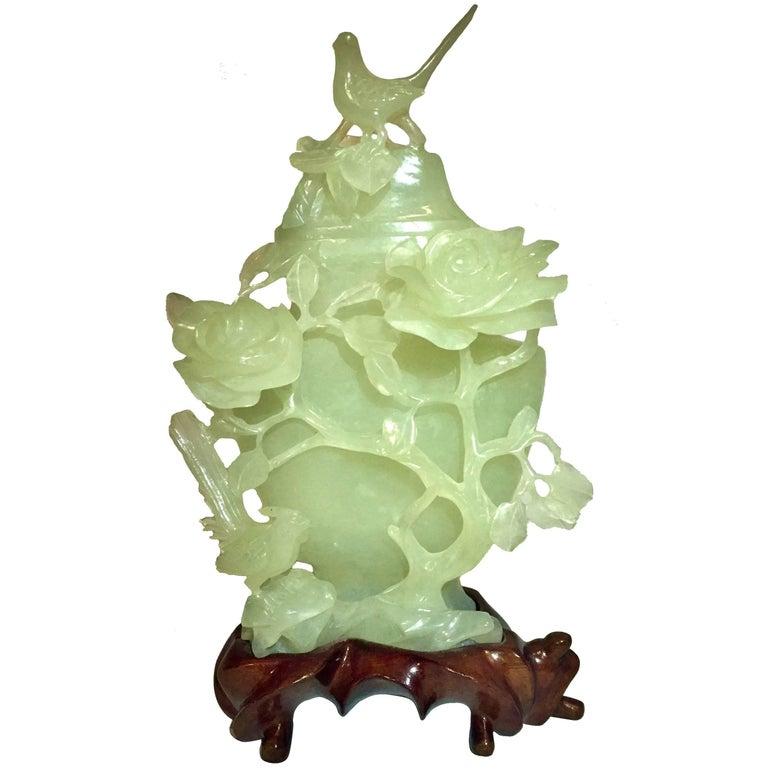Jade Style Serpentine Vase with Birds and Roses