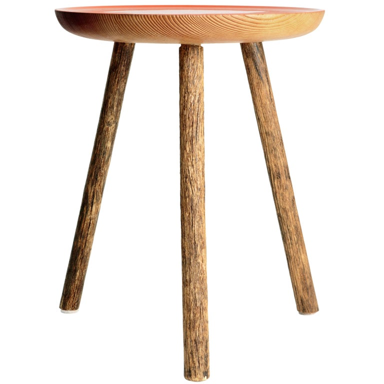 Staked Wood Side Table, Erik Gustafson For Sale