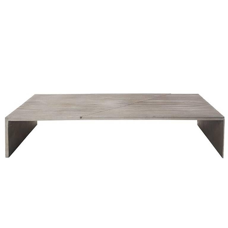 Mid-Century Modern Cast Ribbed Aluminum Diagonal-Pattern Coffee Table