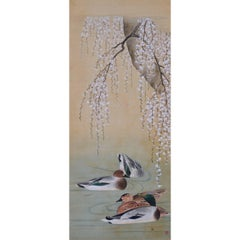 19th Century Japanese Bird and Flower Painting, Ducks and Cherry Blossoms