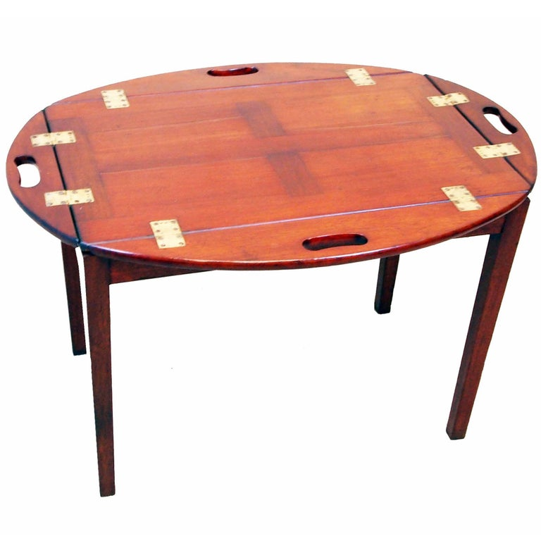 Oval Coffee Table Tray: Antique Georgian Oval Mahogany Butlers Tray On Stand At