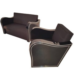 Art Deco Chromliner Couch und Sessel