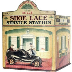Shoe Lace Service Station, Very Rare Tin Litho Store Display