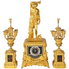 19th Century French Clock Set, with Pietra Dura Panels
