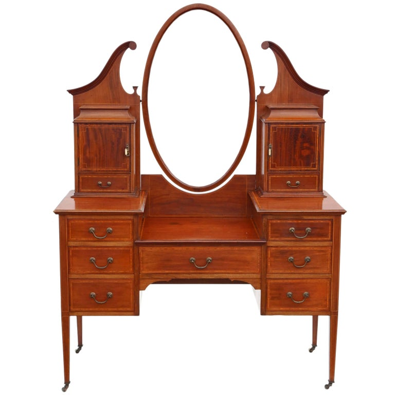 Antique quality large edwardian inlaid mahogany dressing for Sideboard lindholm