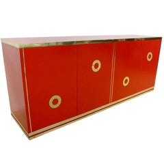 Italian 1970s Chinese Red Lacquered and Brass Asian Style Sideboard / Credenza
