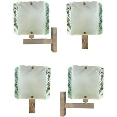 Two Pairs of Chiselled Glass Sconces by Zeroquattro, Italy, 1960s
