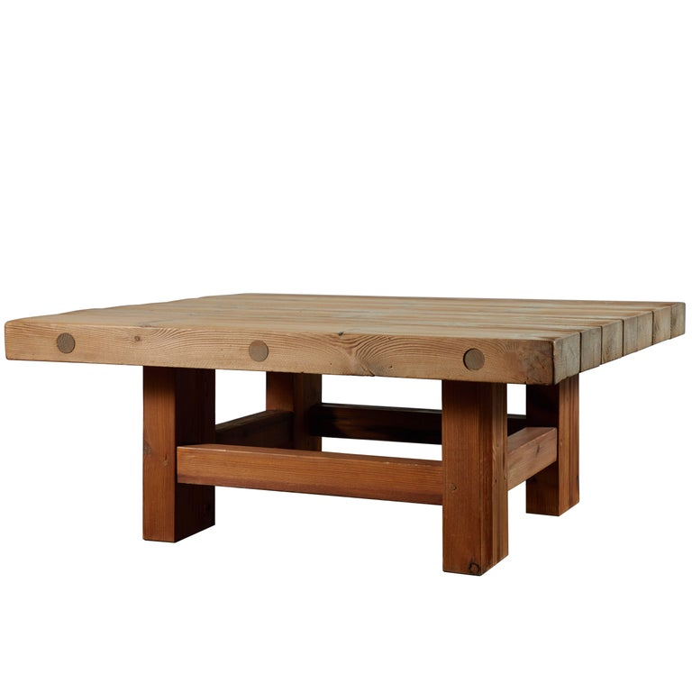 Solid Pine Coffee Table Attributed to Roland Wilhelmsson