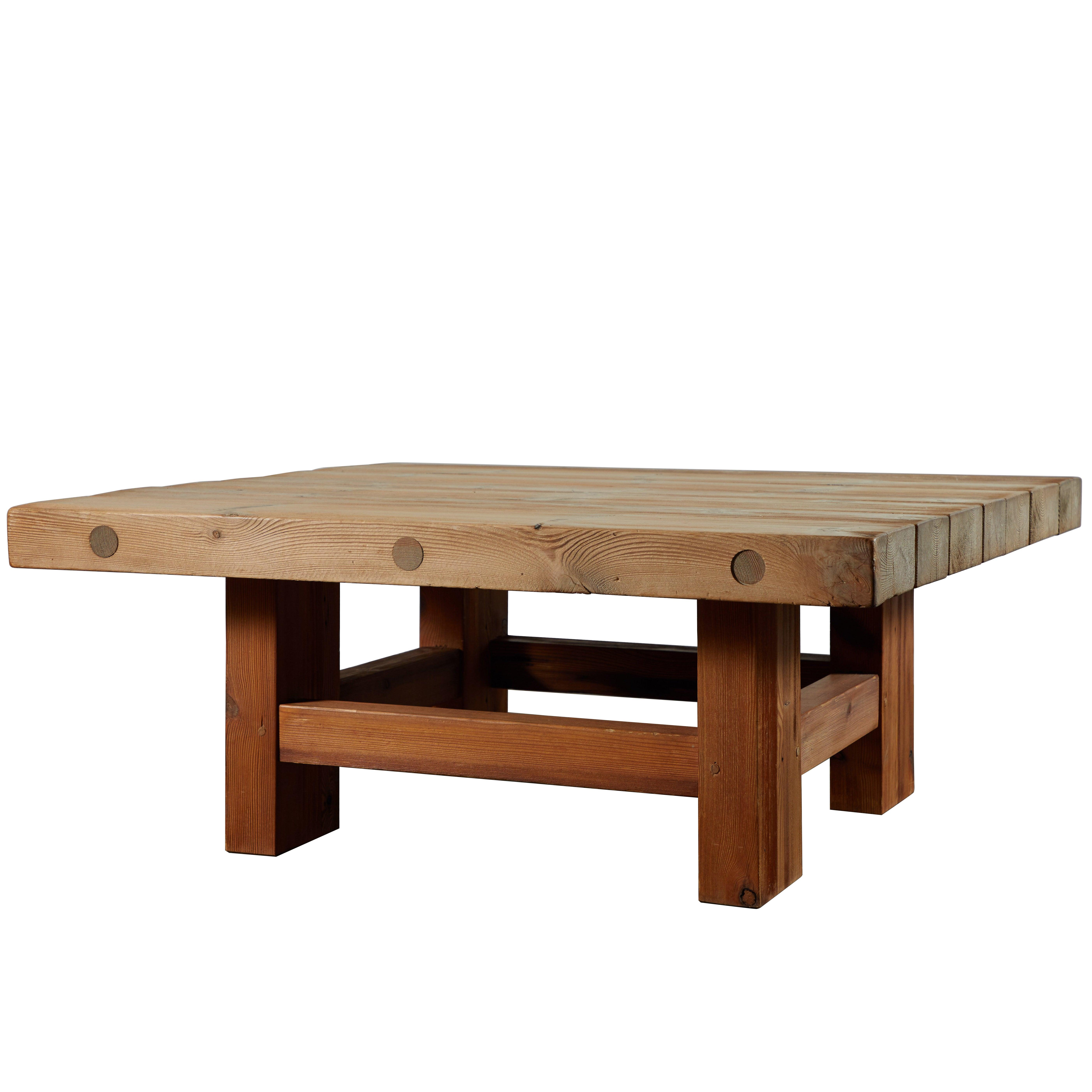 Solid Pine Coffee Table.Solid Pine Coffee Table Attributed To Roland Wilhelmsson