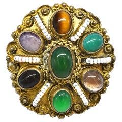 Jade Pendant, Gemstone Sterling Brooch, Vintage