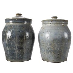 Pair of Mid-Century Modern Hand-Thrown Studio Pottery Covered Jars, Signed