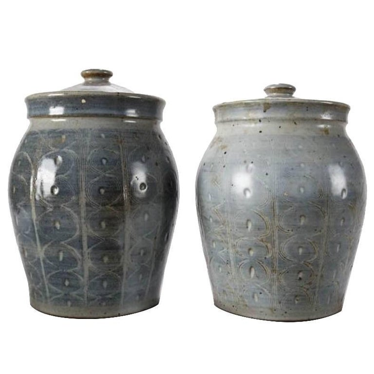Pair of Mid-Century Modern Hand-Thrown Studio Pottery Covered Jars, Signed For Sale
