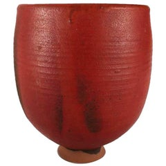 Mid-Century Modern Hand-Thrown Studio Pottery Footed Oxblood Yunomi