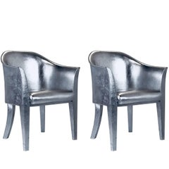 Pair of Metallic Silver Leather Armchairs Signed Karl Springer