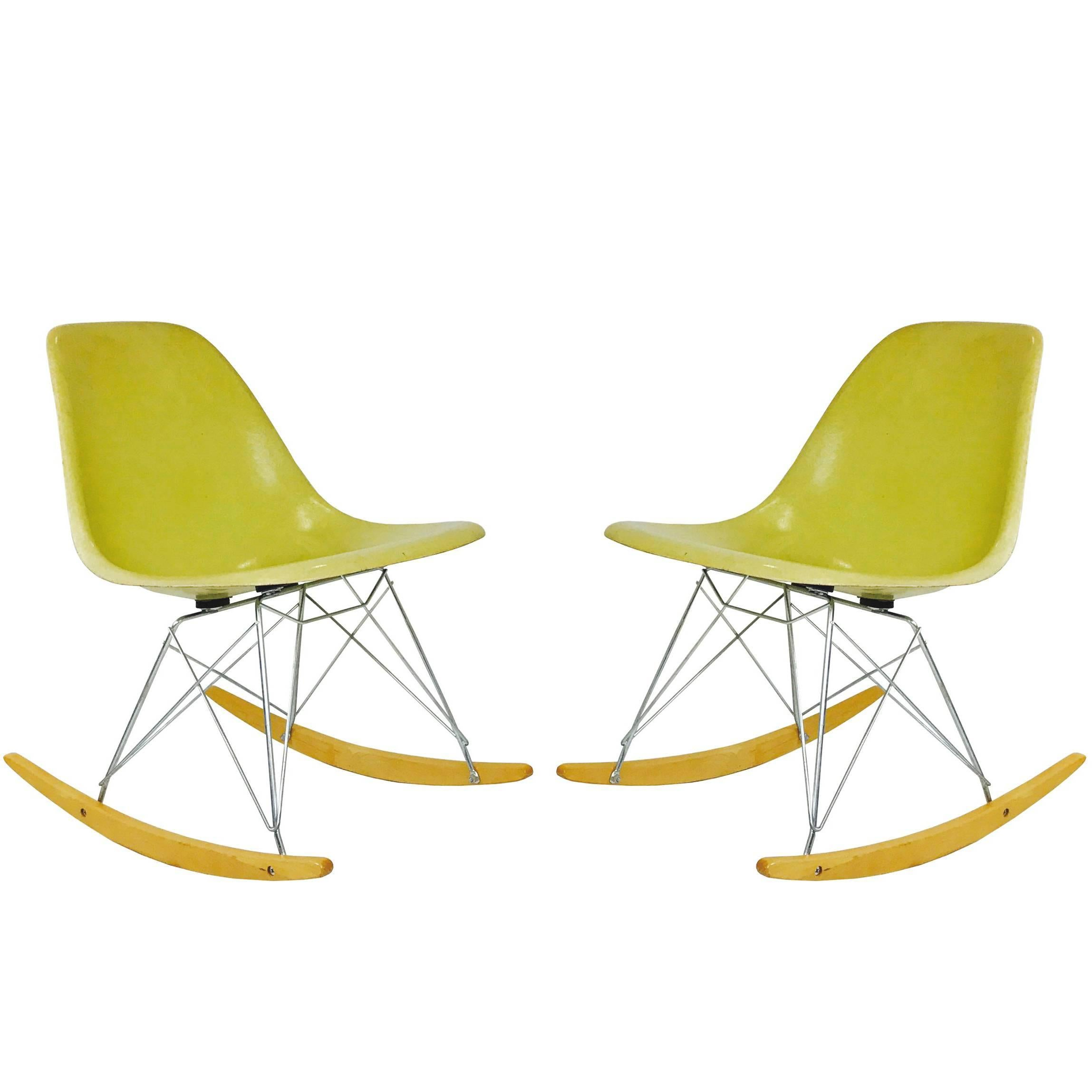 Pair Of Molded Fiberglass Eames Chairs For Herman Miller 1
