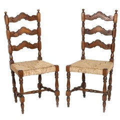 Mid 20th Century Renaissance Pair of Sides Chairs, Dini & Puccini Attributed