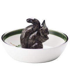 Black Forest Hand-Painted Porcelain Bowl with Squirrel Figure