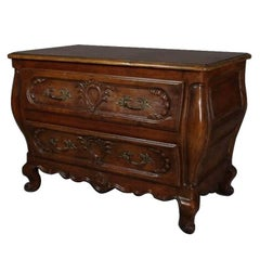 Carved Mahogany Baker French Bombe Style Two-Drawer Chest, 20th Century