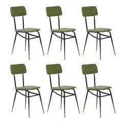 Set of Six Black Metal and Lime Green Vinyl Dining Chairs, circa 1950