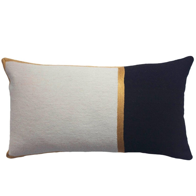 Modern Embroidered Throw Pillow : Modern Nicole Ivory/Ebony Hand Embroidered Wool and Metallic Throw Pillow Cover For Sale at 1stdibs