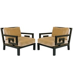 Pair Of Oversized Greek Key Lounge Chairs
