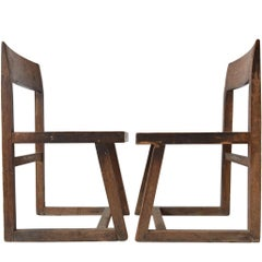 Rare Pierre Jeannette Library Chairs for Chandigarh