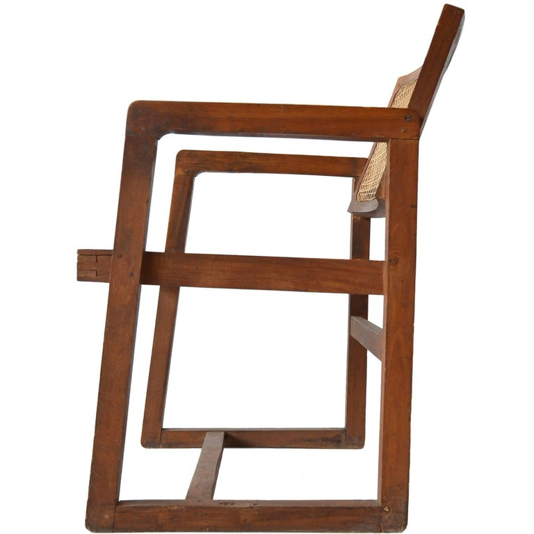 "Pierre Jeanneret ""Box"" Desk Chair in Teak For Sale"