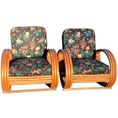 Pair of Rattan Lounge Chairs in the Style of Paul Frankl