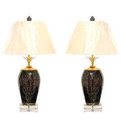 Exceptional Pair of Italian Granite Style Blown Glass Vases as Custom Lamps