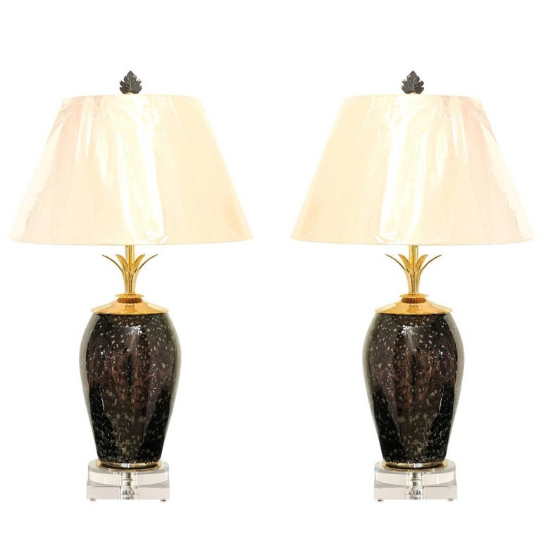 Exceptional Pair Of Italian Granite Style Blown Glass Vases As