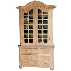 Original Flemisch Glass Cabinet from Early 1800s