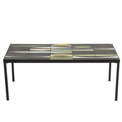Roger Capron Enameled Ceramic and Black Lacquered Metal Coffee Table, 1960
