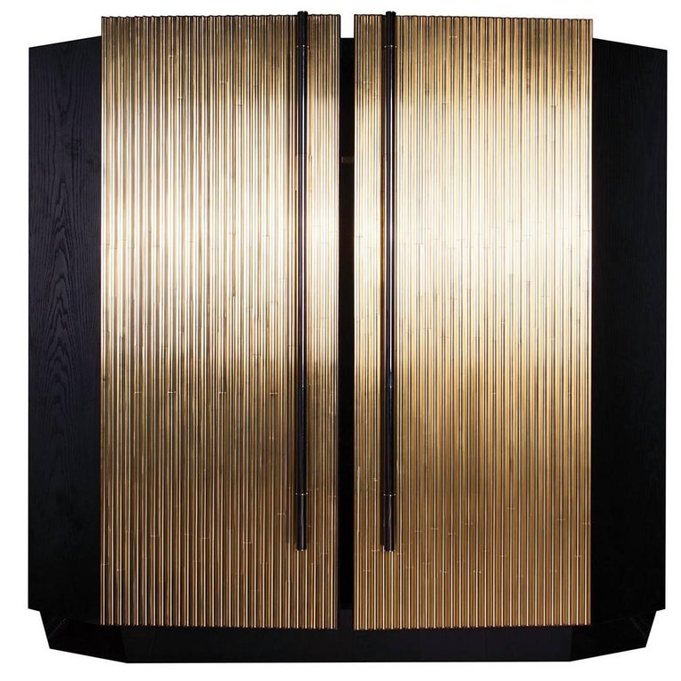 Black Chrome and Wood Trabo Cabinet with Hand-Polished Brass Details For Sale