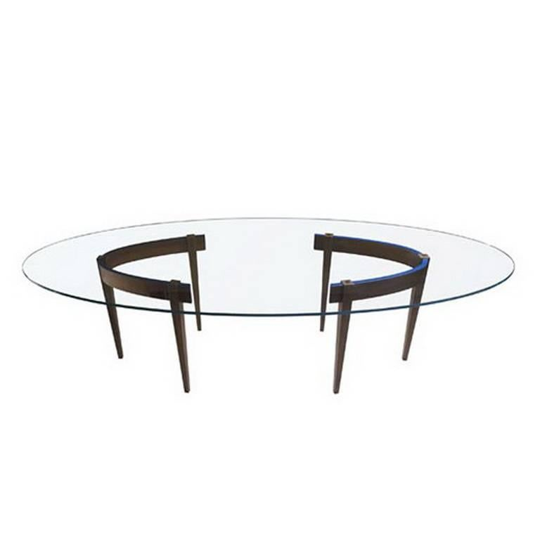 """The Round Table A1"" Extra-Clear Glass Top Oval Table by Ron Gilad for Adele-C"