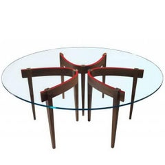 """The Round Table A2"" Extra-Clear Glass Top Round Table by R. Gilad for Adele-C"