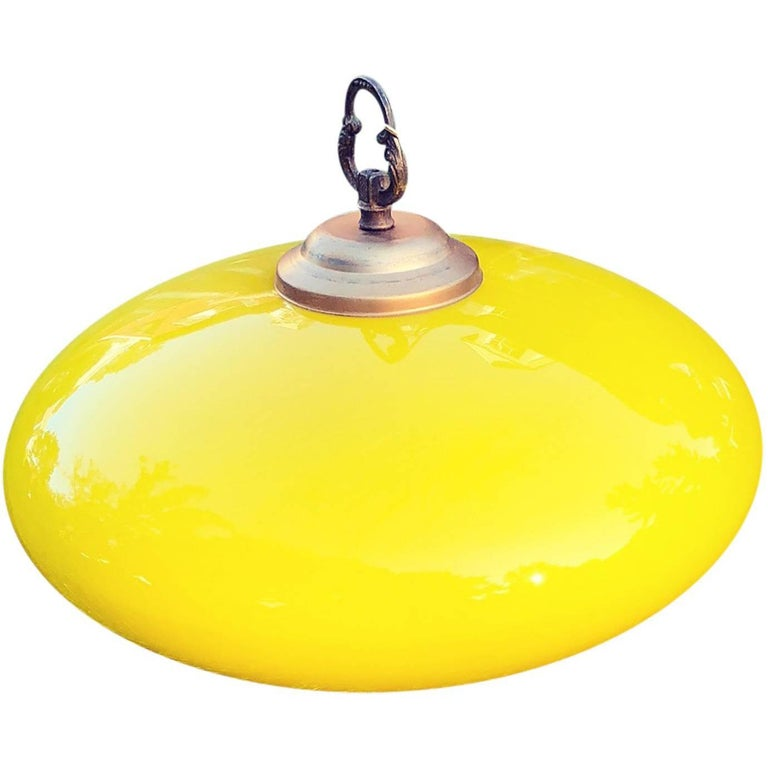 Vintage Italian Bright Yellow Glass Pendant